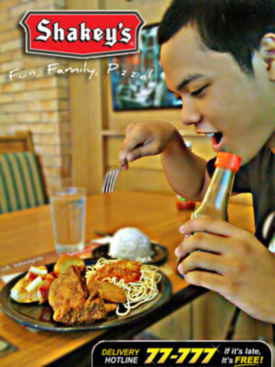 The person in the photo is me. My girlfriend edited this because she knows I love Shakey's so much.