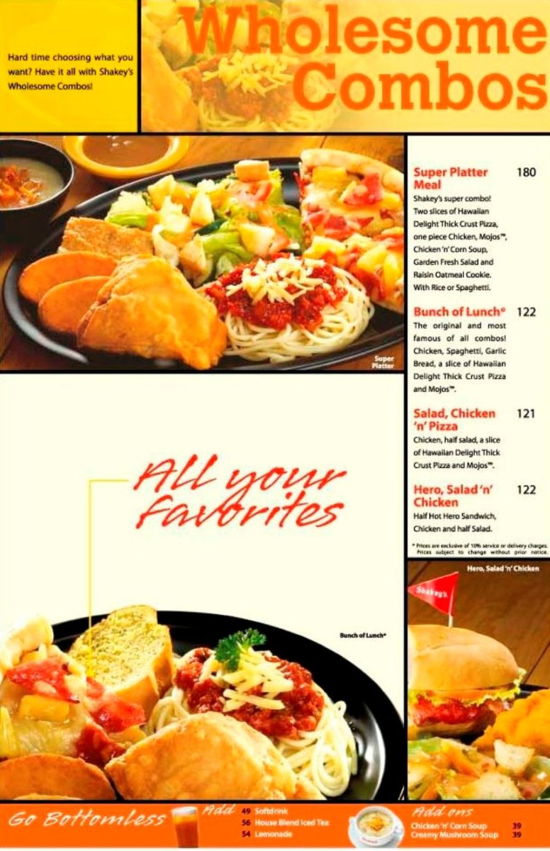 Menu for Set Meals and Combos