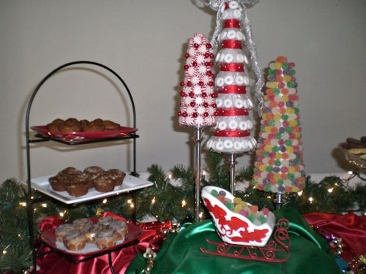 Sitting in front of the candy trees on a riser covered with green fabric is a sleigh filled with gum drops.