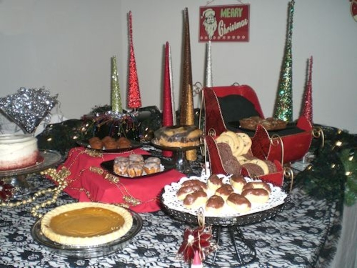 Desserts were displayed on a combination of cake stands, platters and in the sleighs.