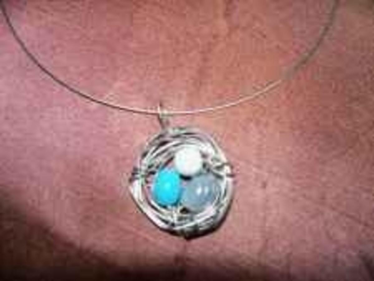 Handmade Beaded Jewelry - Birds Nest Pendant