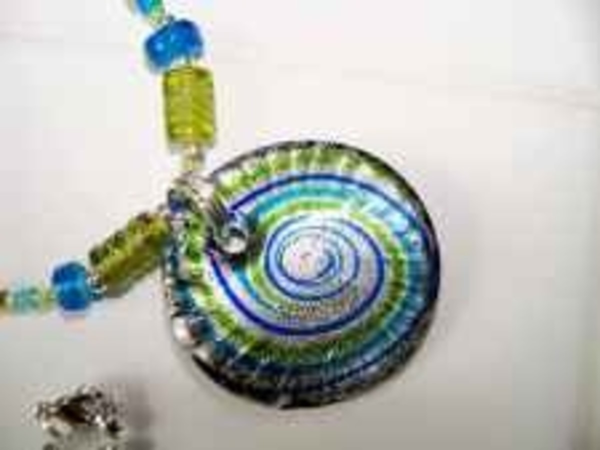 Handmade Beaded Jewelry - round glass pendant