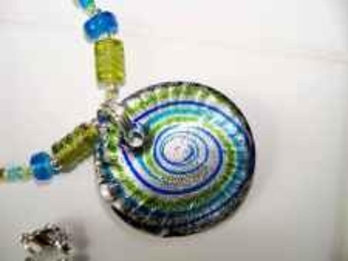 Handmade Beaded Jewelry - round glass pendant