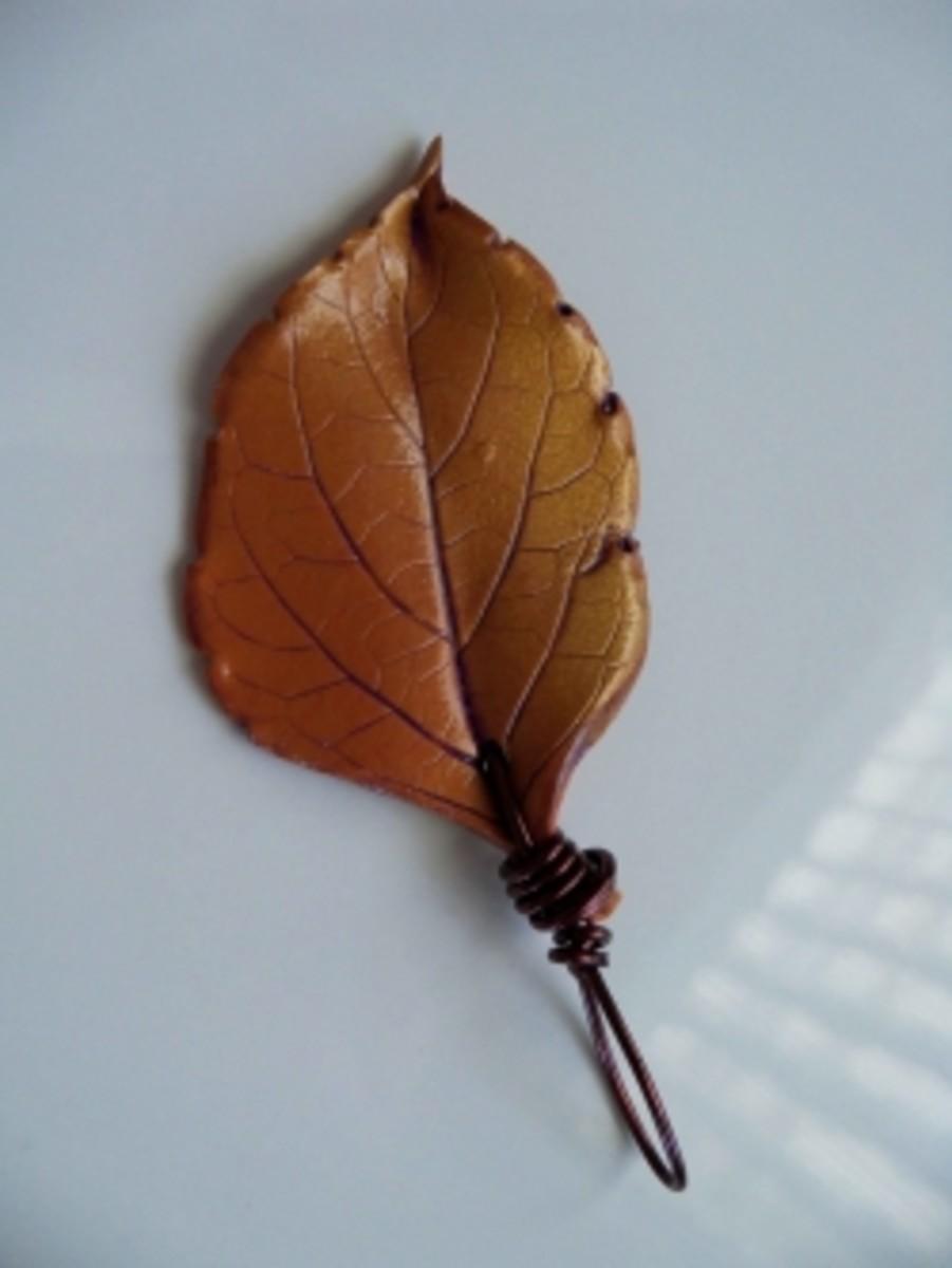 Handmade Beaded Jewelry - Gold Leaf