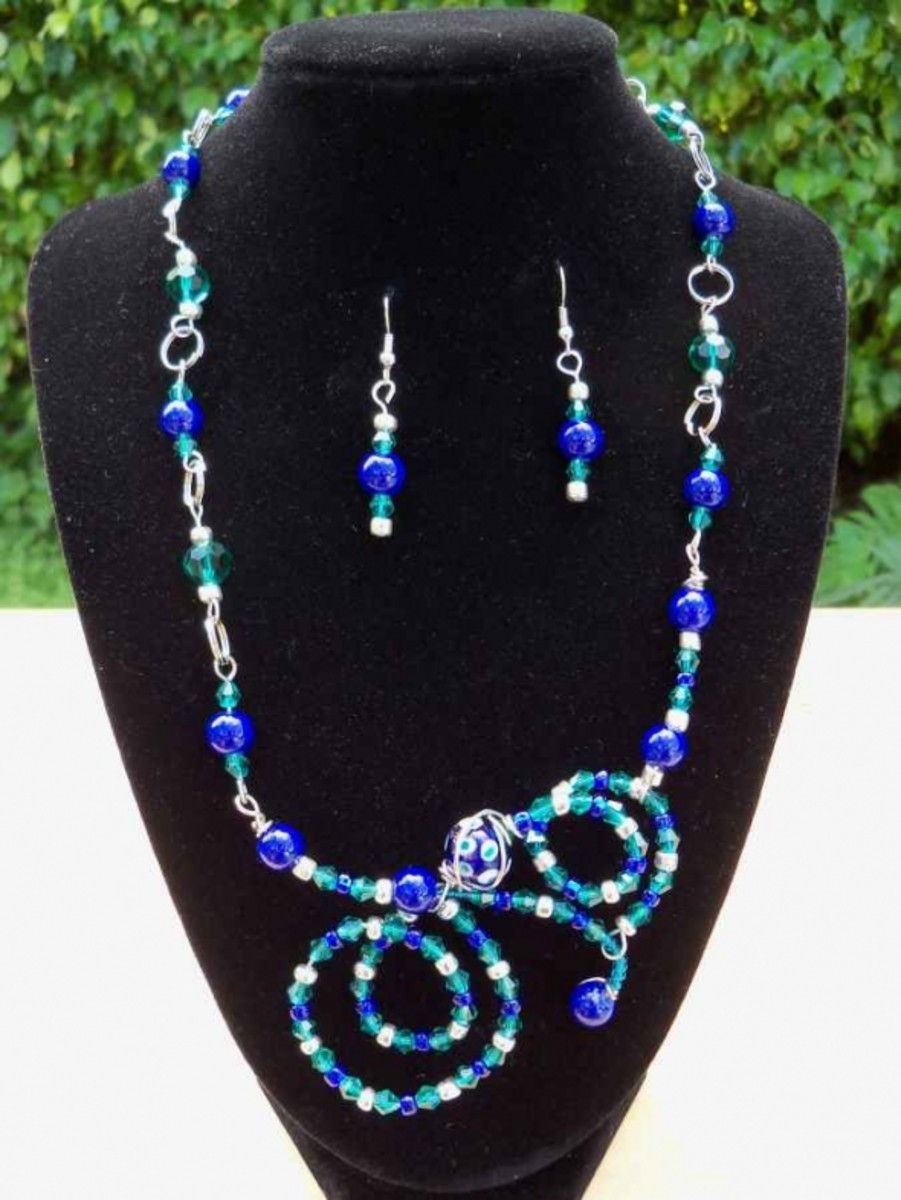 Handmade beaded jewelry - cobalt and teal wired set