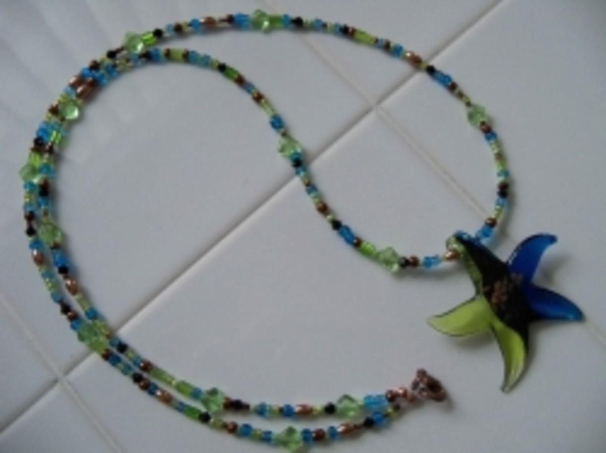 Handmade Beaded Jewelry - Star Glass Pendant Kendra
