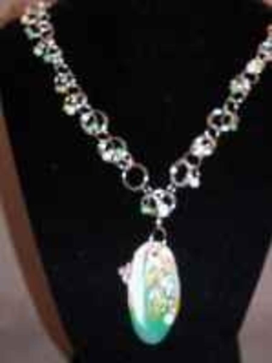 Handmade Beaded Jewelry - Delicate Spring Flower Pendant