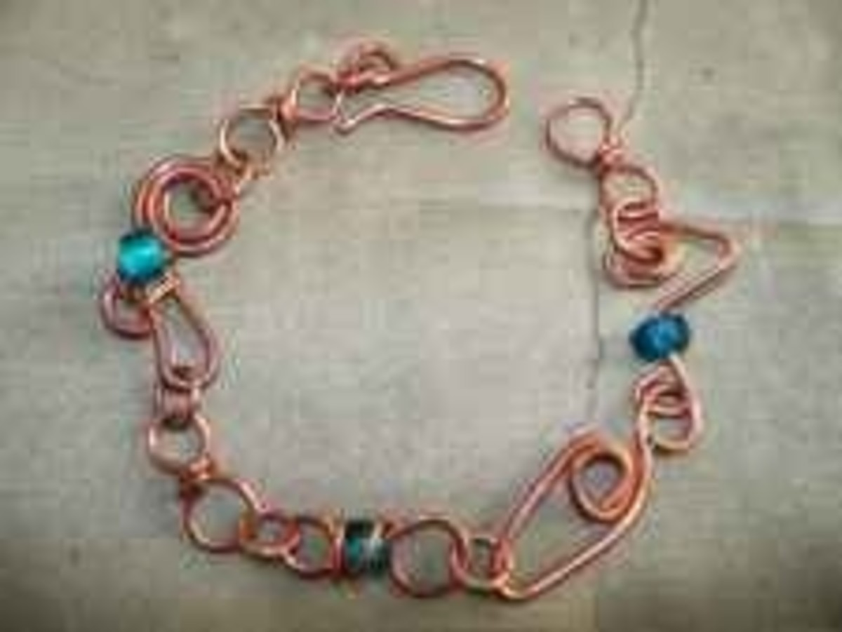 Handmade beaded jewelry - copper teal large