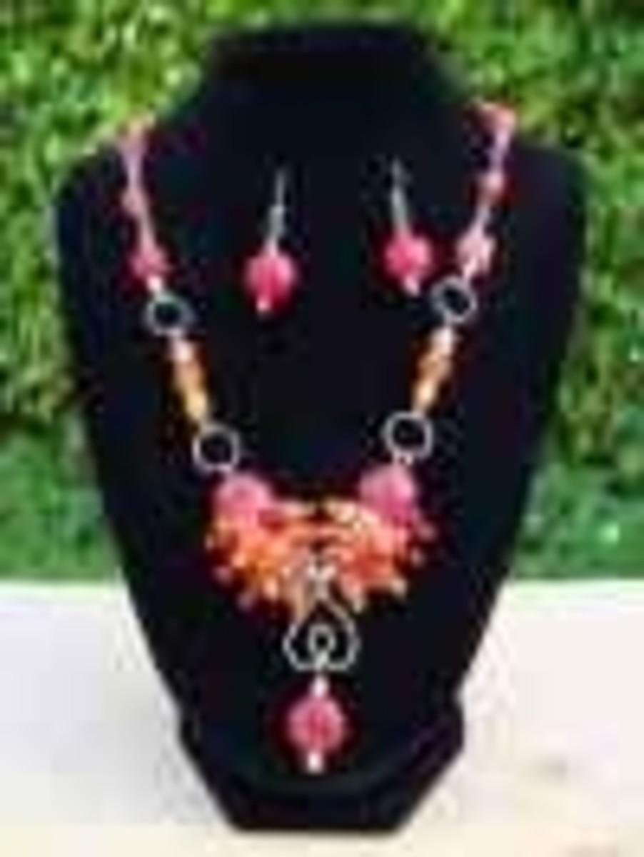 Handmade Beaded Jewelry - Coral Orange Pendant