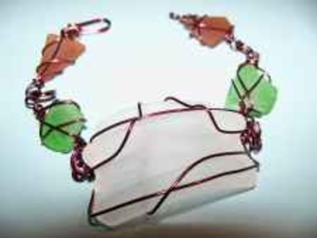 Handmade Beaded Jewelry - sea glass copper