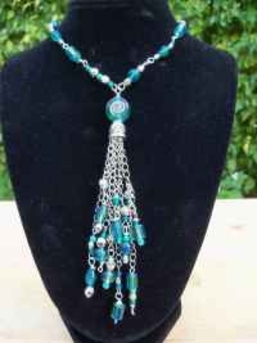 Handmade Beaded Jewelry - Tasseled Pendant