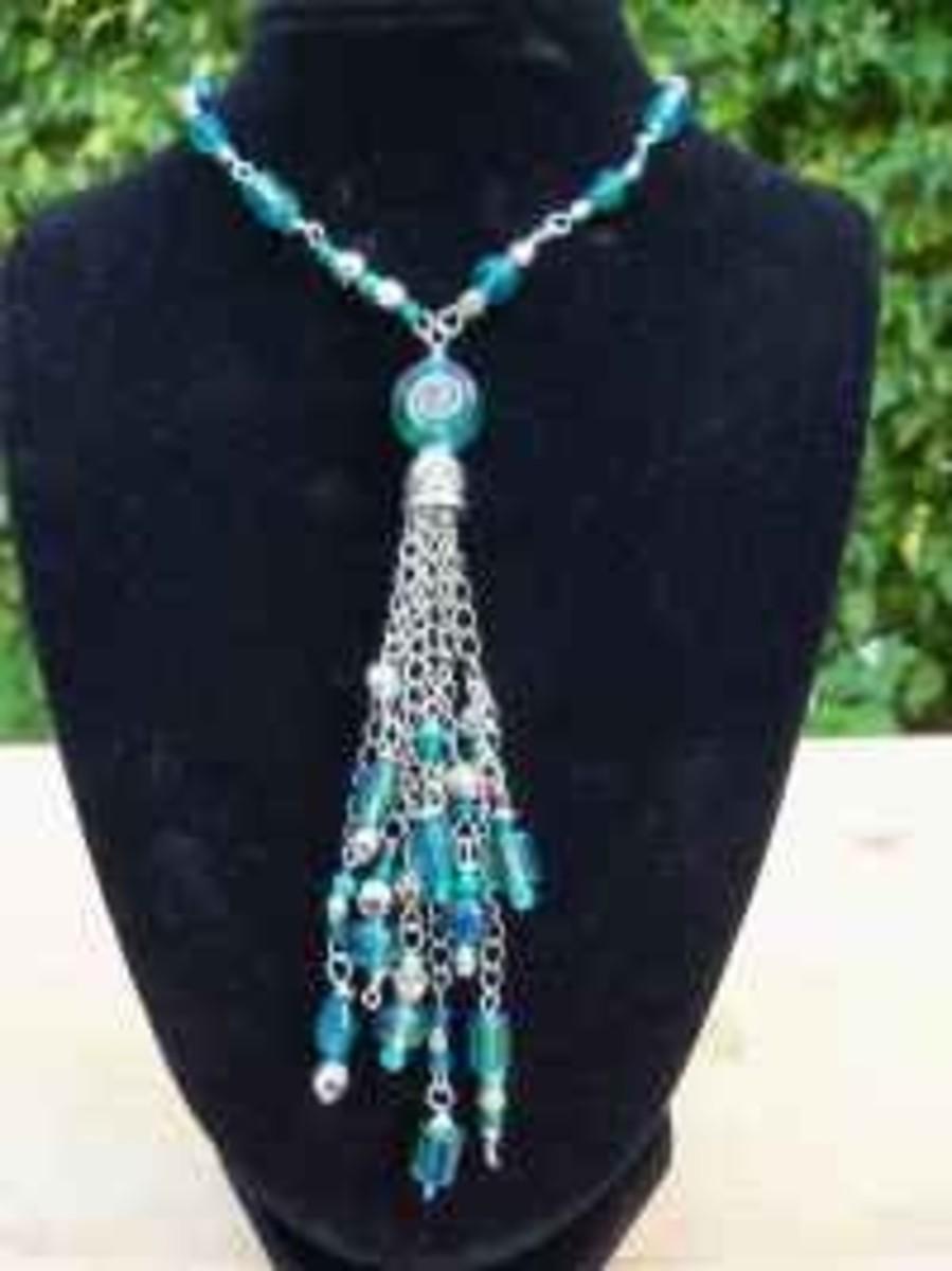 Handmade Beaded Jewelry - Tasseled Pendant