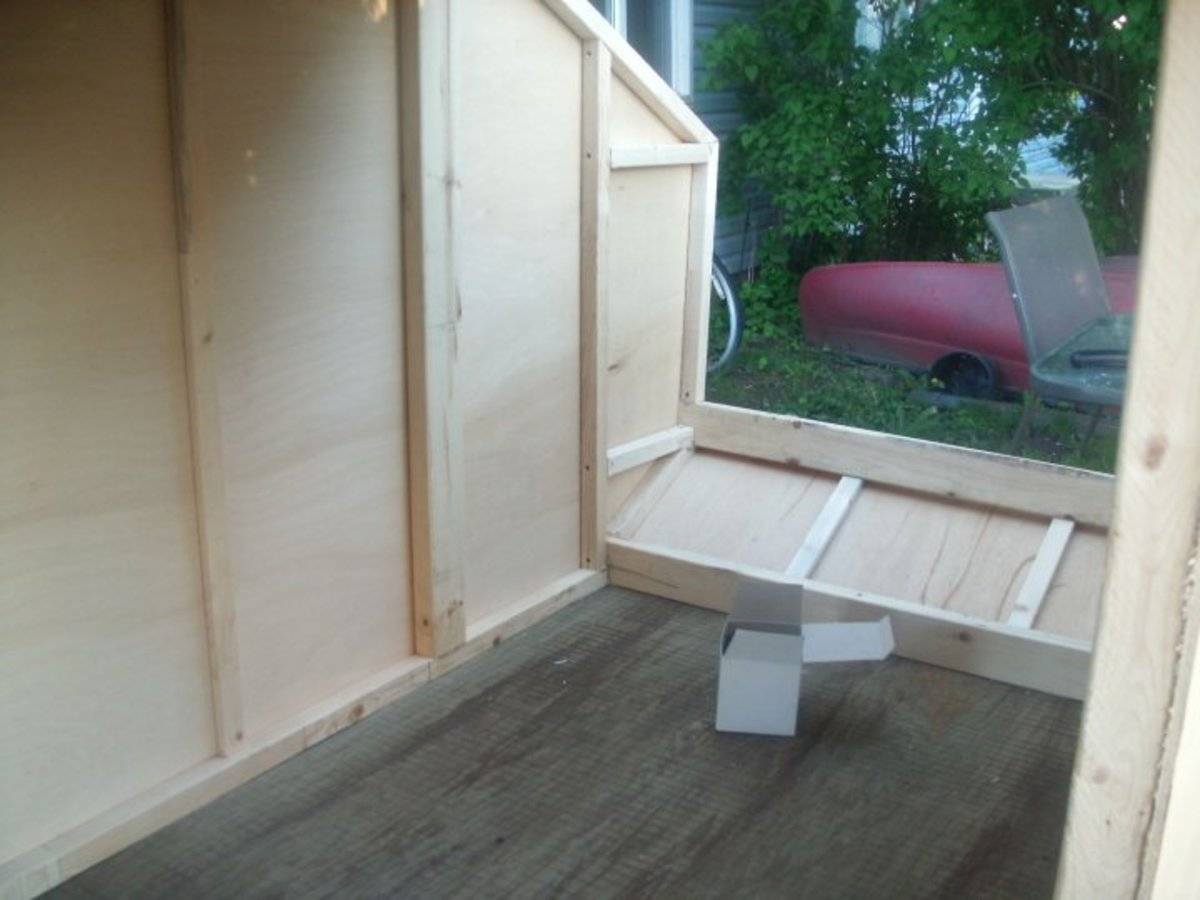 Inside the camper.  Notice the strapping and the larger 2x4's