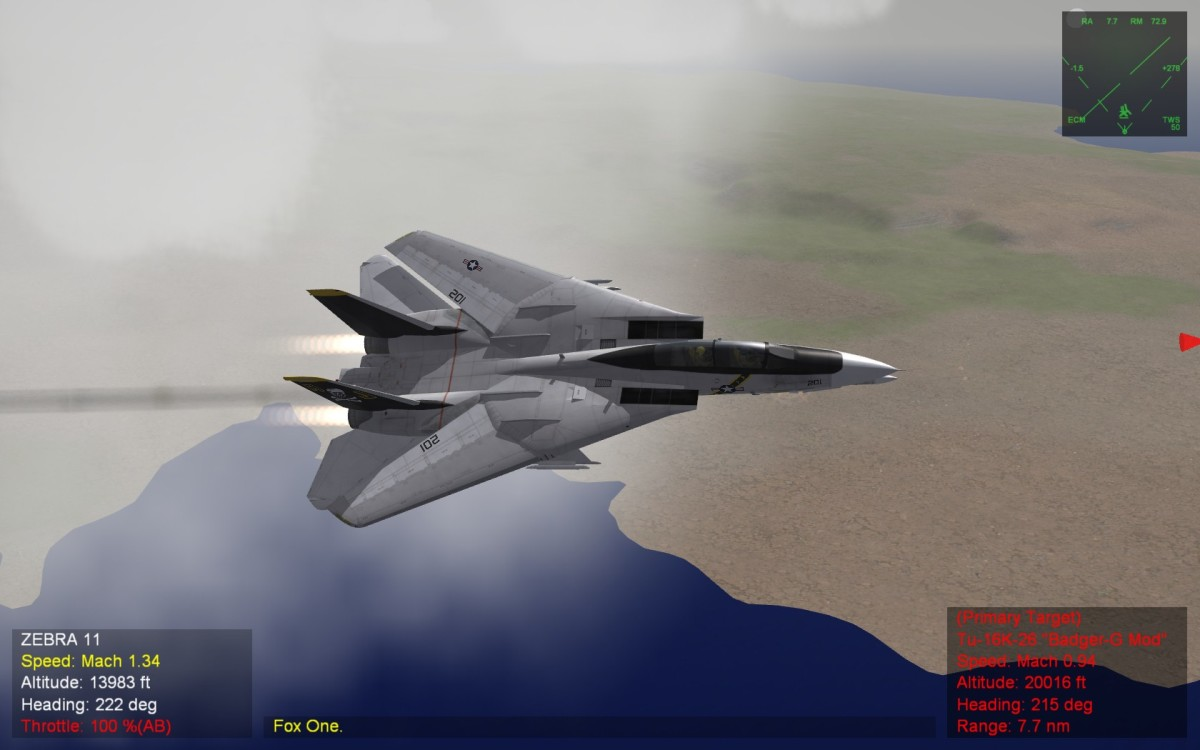 F-14 with the wings back and burners on full, kick the tyres and light the fires!