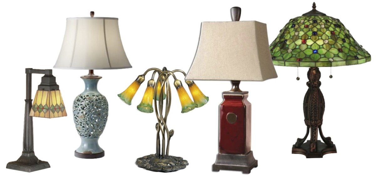 "L to R: Meyda Tiffany Martini Mission Desk Lamp, Murray Feiss Antica Ceramica in Persian Turqouise, Meyda Tiffany Pond Lily 5 Lt Lamp, Uttermost Reggie Red Table Lamp, and Meyda Tiffany Diamond & Jewel Table Lamp. Click ""info"" icon to learn more."