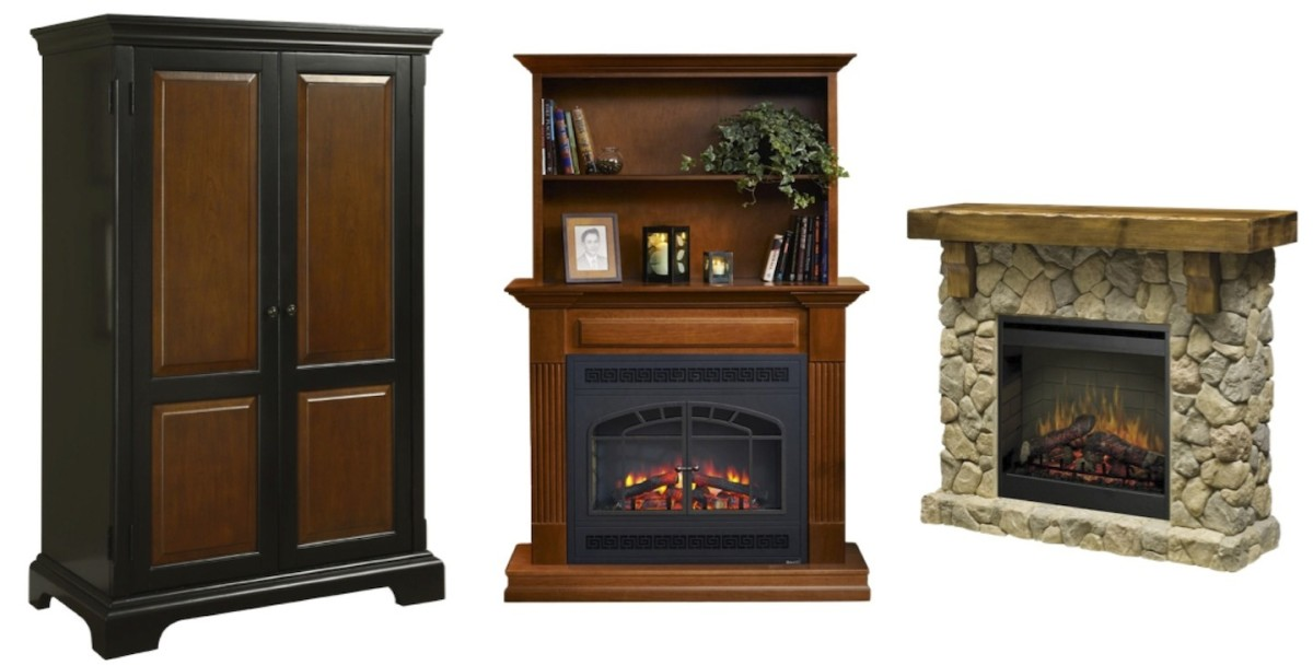 Left to right: Bridgeport Computer Armoire by Riverside Furniture, GreatCo Rio Grande Series Mantel 34 In. Electric Fireplace/Bookcase, and Dimplex SMP-904-ST Fieldstone Pine and Stone-look Electric Fireplace Mantel. Click info icon to learn more.