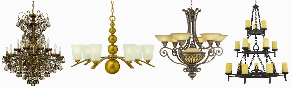 Chandeliers L to R: New Orleans 14-Light Crystal, Zelda Contemporary in Vintage Brass, Murray Feiss Stirling Castle, La Parra Tiered Spanish Gothic. Most available in different sizes, finishes, and colors.