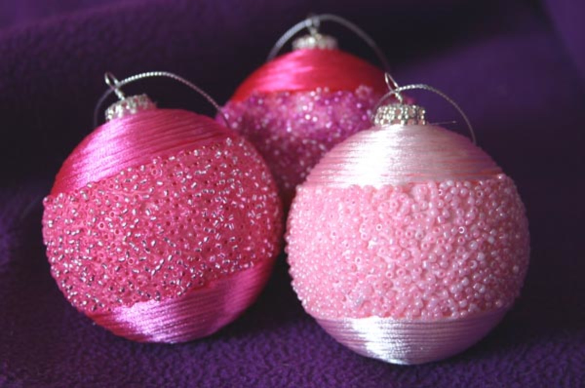satin cord and seed bead ornaments