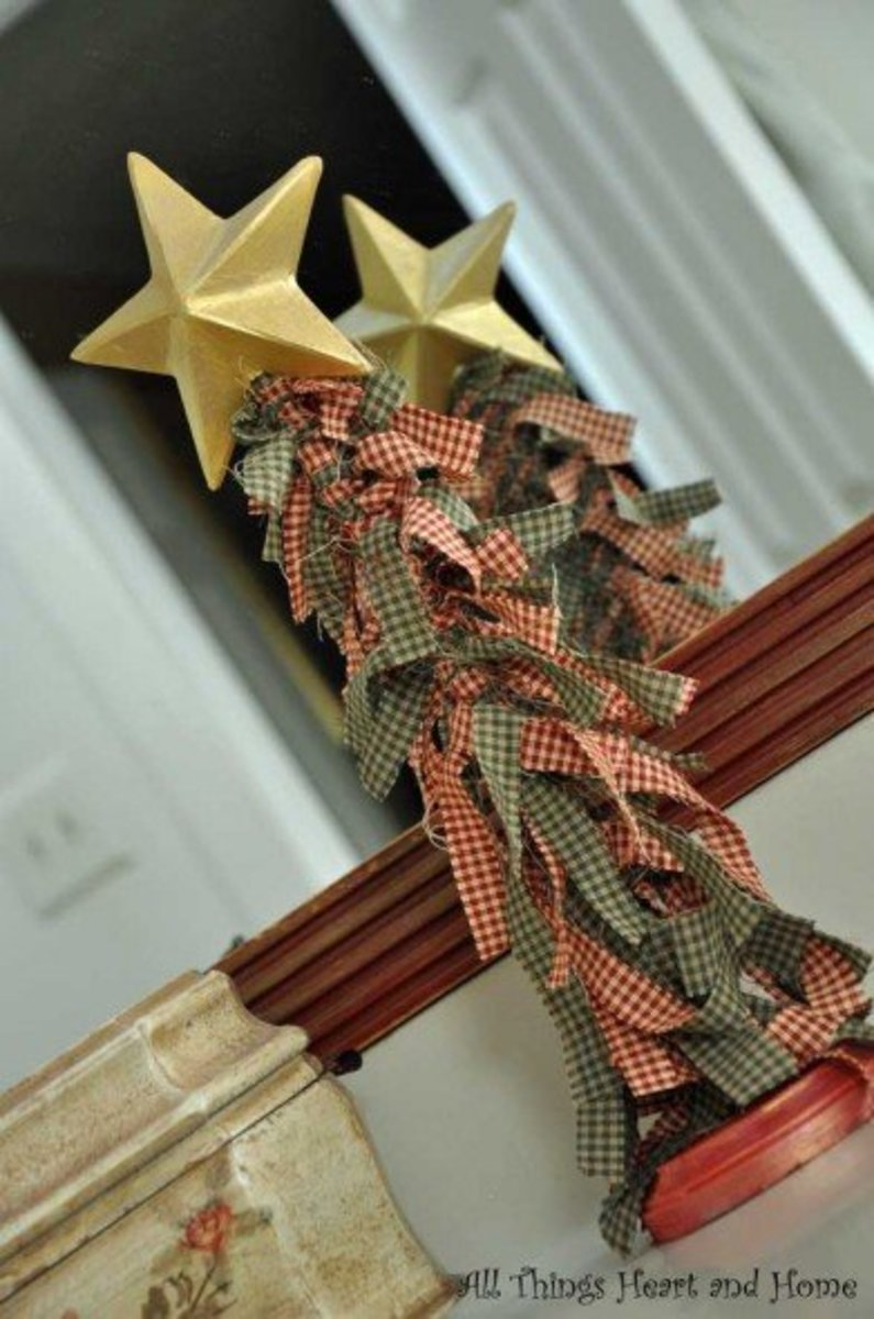 fabric scrap Christmas tree decoration