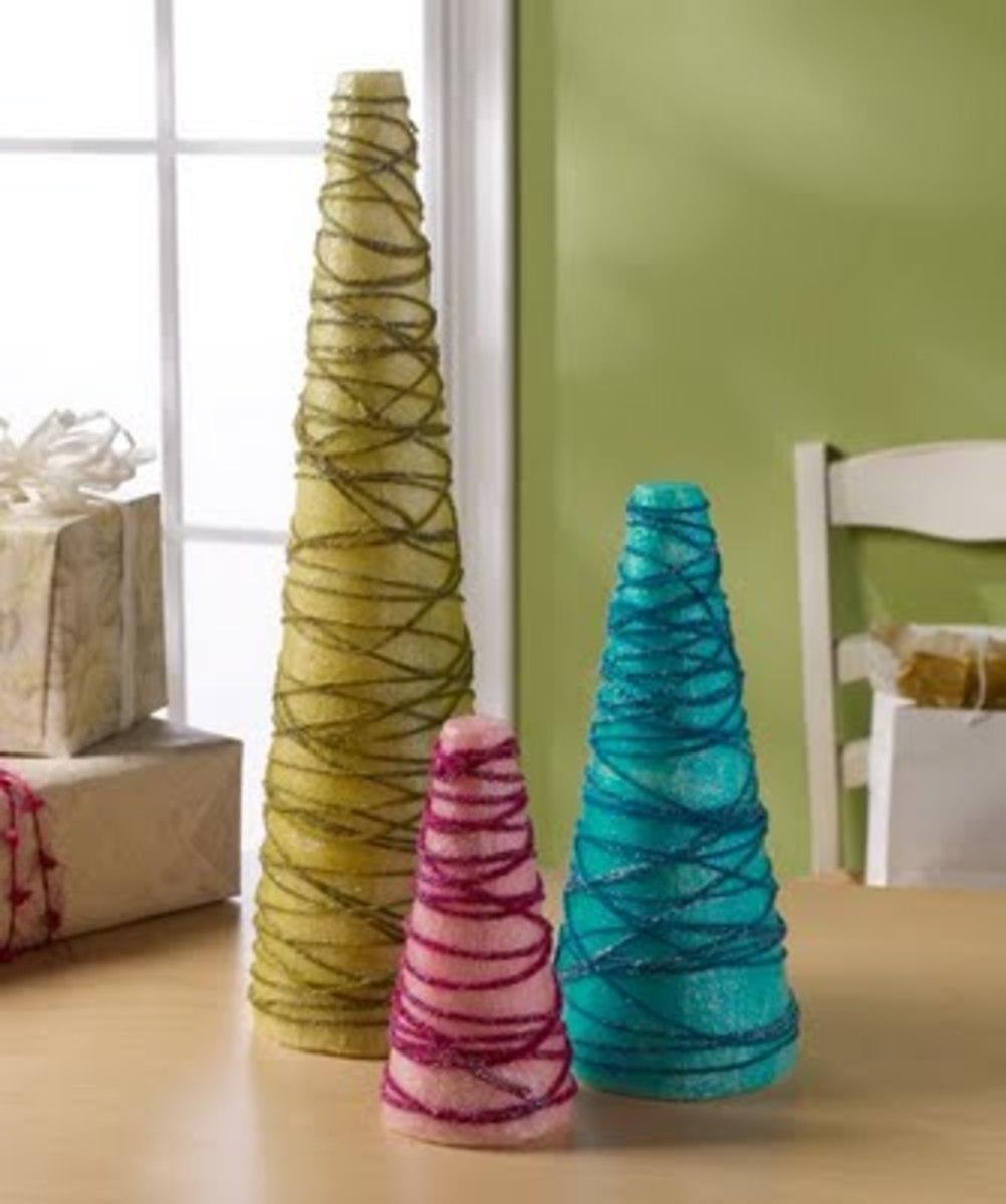 Christmas trees made from sytrofoam