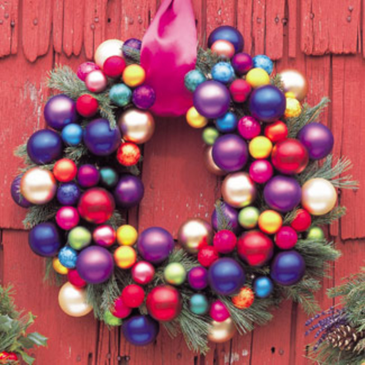 glass ball ornament wreath