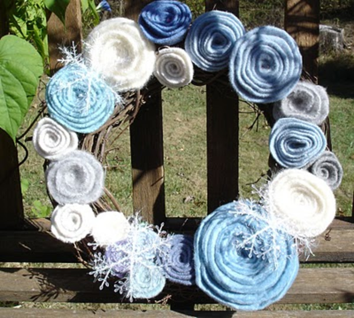 felted rose wreath from old sweater
