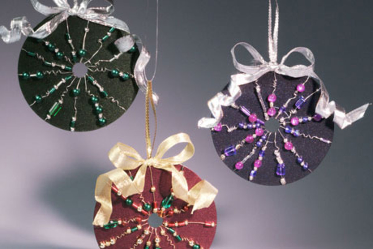 upcycled CD ornaments
