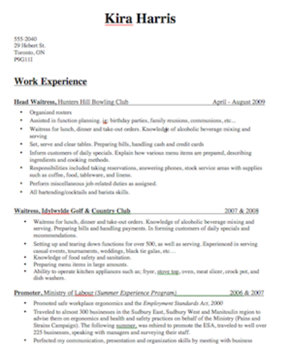 important tips for writing a winning bartender resume