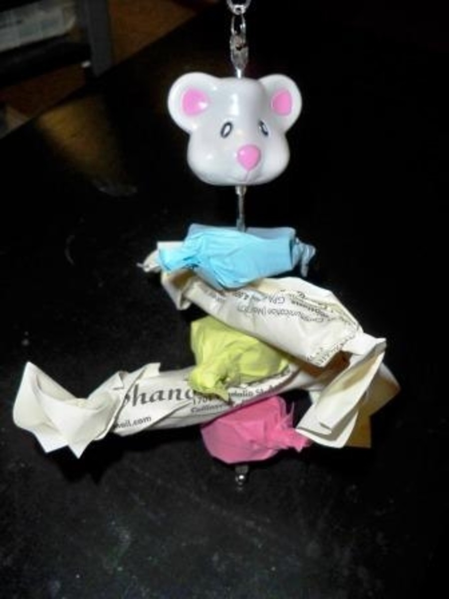 homemade toy for pet rats - candy kabob chew toy