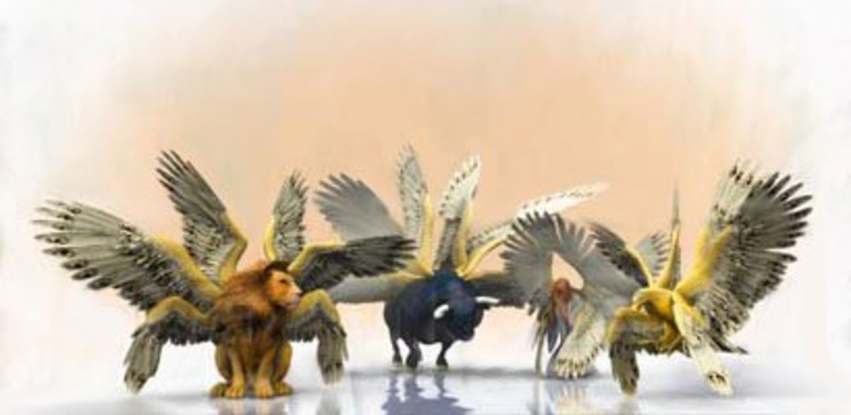 """The first living creature was like a Lion, the second living creature like a Calf, the third living creature had a face like a Man, and the fourth living creature was like a flying Eagle."" (Revelation 4:7)"