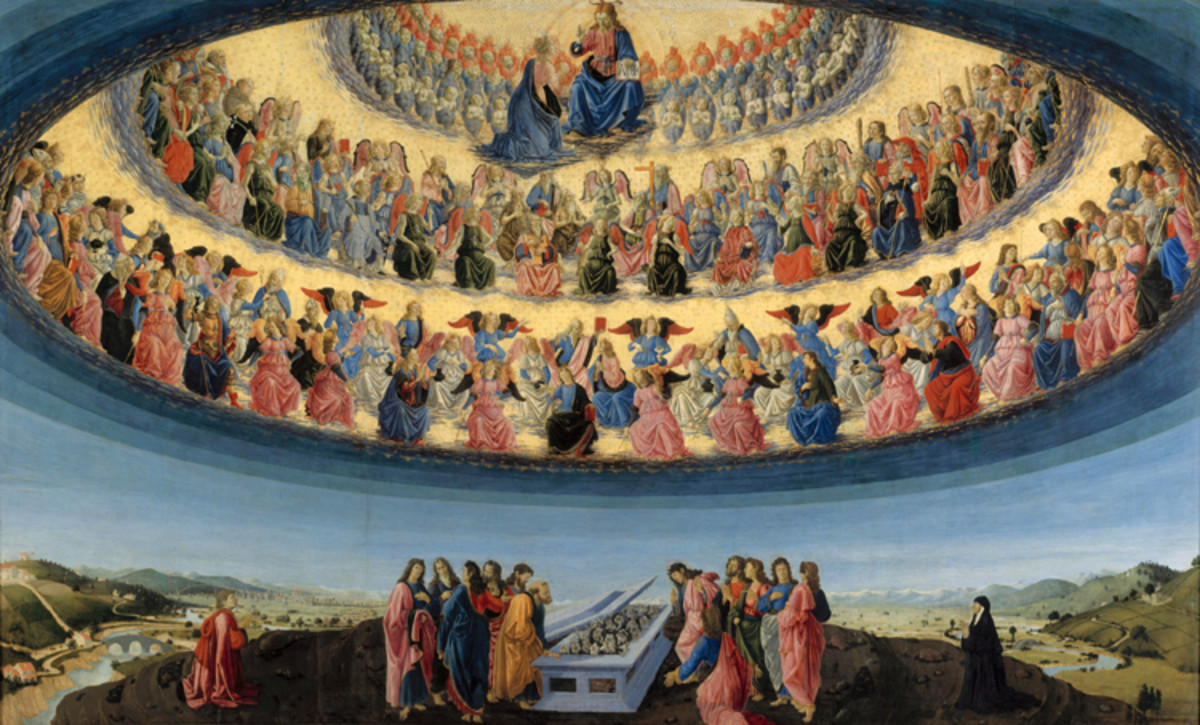 """Assumption of the Virgin"" (showing the Three Spheres / CHOIRS of HEAVEN) - by Francesco Botticini - at the National Gallery London."