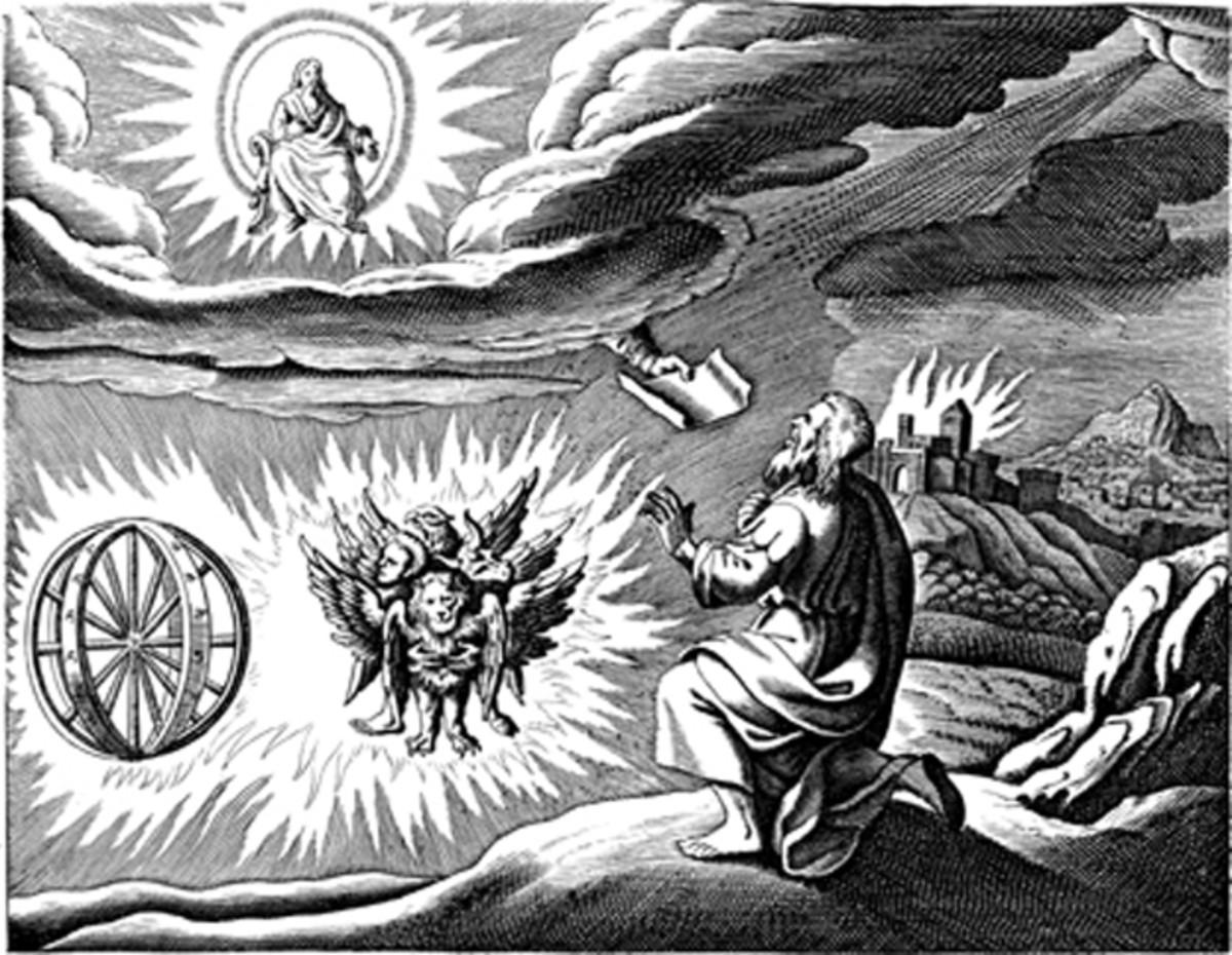 """Ezekiel's Vision"" - by Matthaeus Merian (1593-1650) - engraved illustration in Icones Biblicae"
