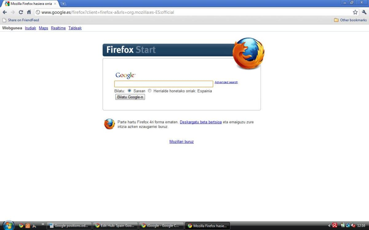 The Firefox version of Spain Google will be presented in the language last used for Google Espana e.g Spanish, Catalan, Galician or Basque. In this case Basque.
