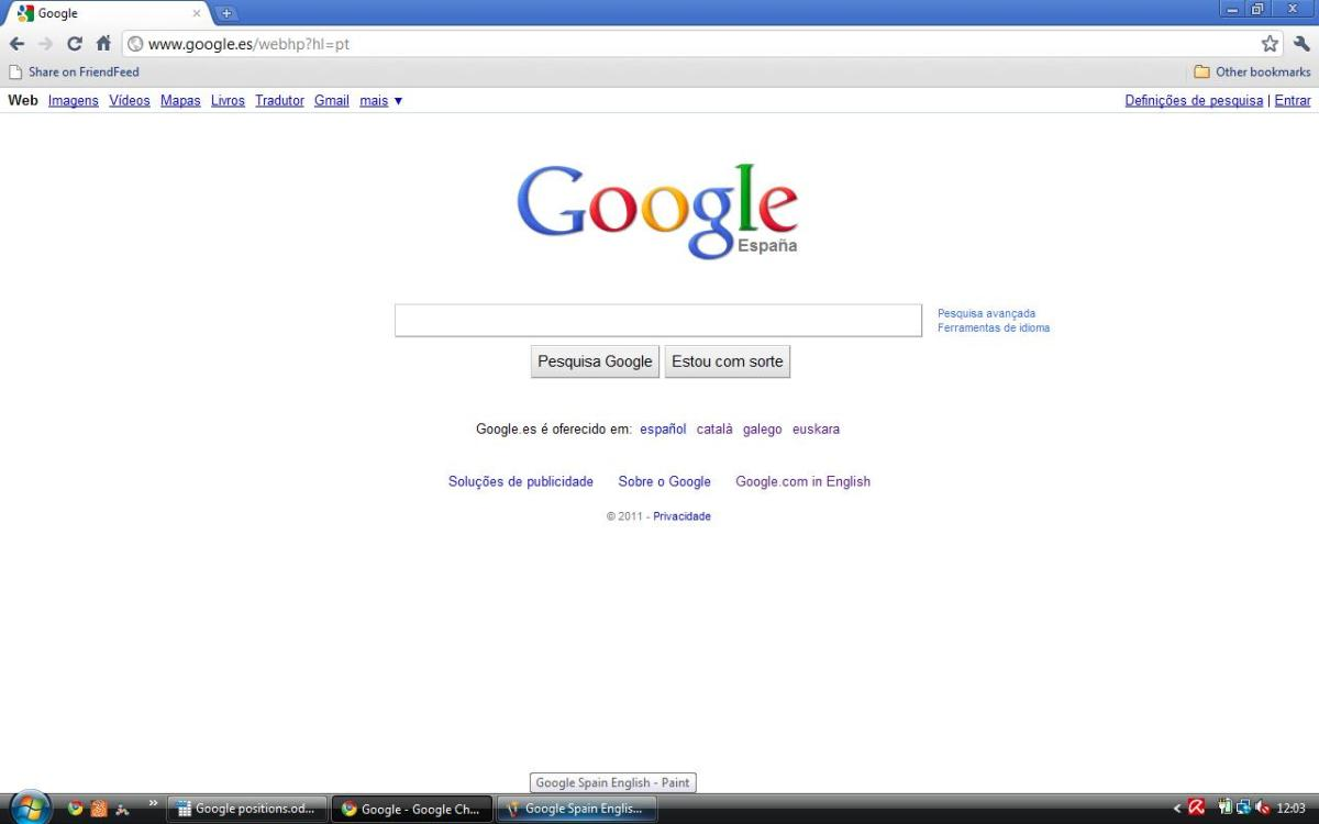Spain Google Espana in Portuguese