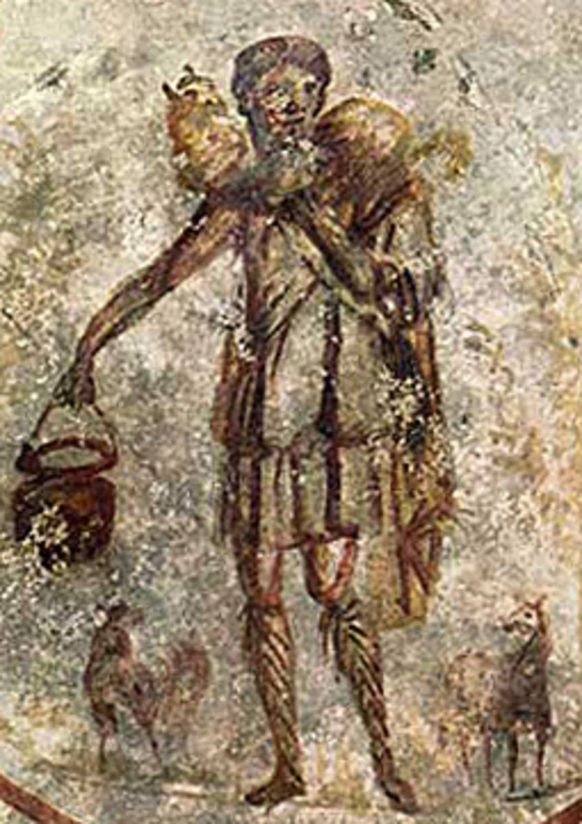 """The Shepherd of Hermas"" or ""The Good Shepherd"" (3rd century) Catacombs of Rome"