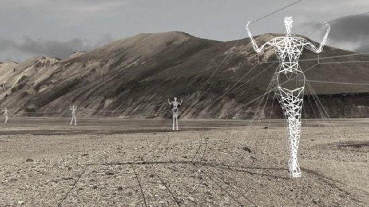 Human shaped Electric Pylons