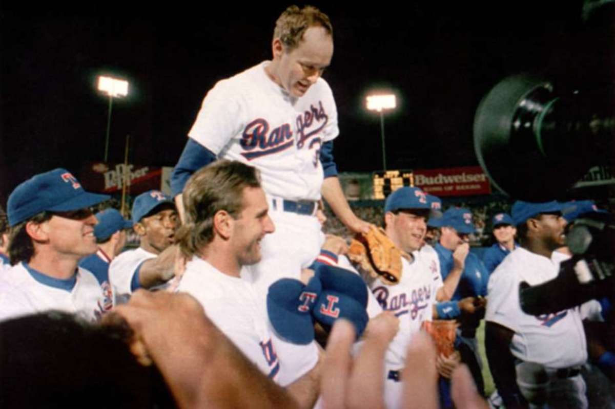 Nolan Ryan carried off the field by adoring teammates after yet another record no-hitter.