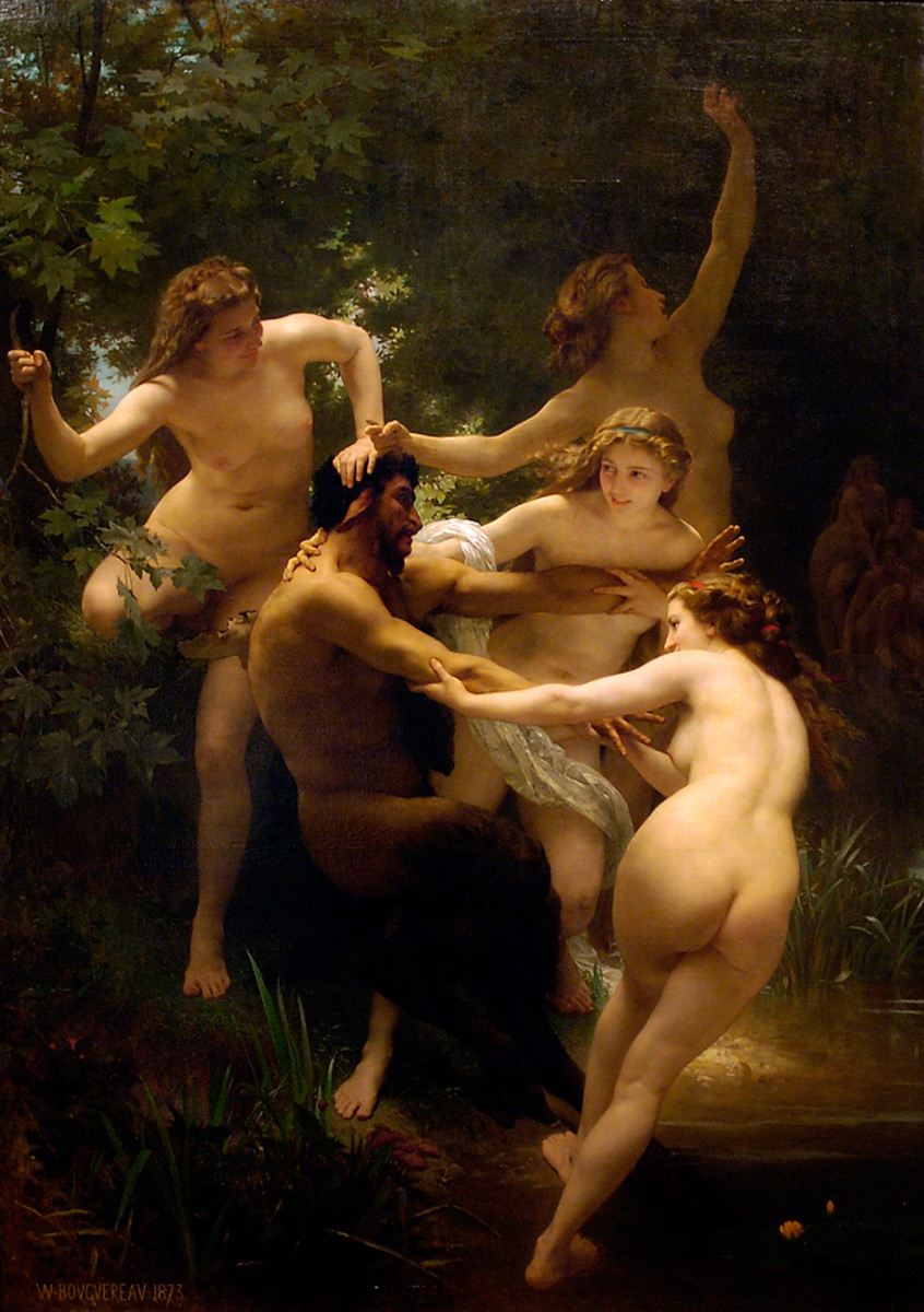 Dragged kicking and screaming to the bath.. Satyr and Nymphs - Bouguereau