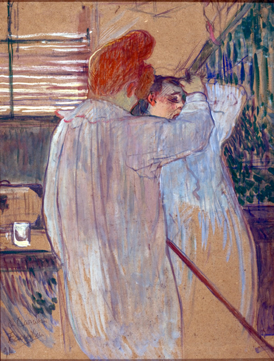 Henri de Toulouse-Lautrec-Monfa (1864 - 1901) Woman Combing her Hair - Two Women in Nightgowns 1891 Oil, essence and pastel on cardboard