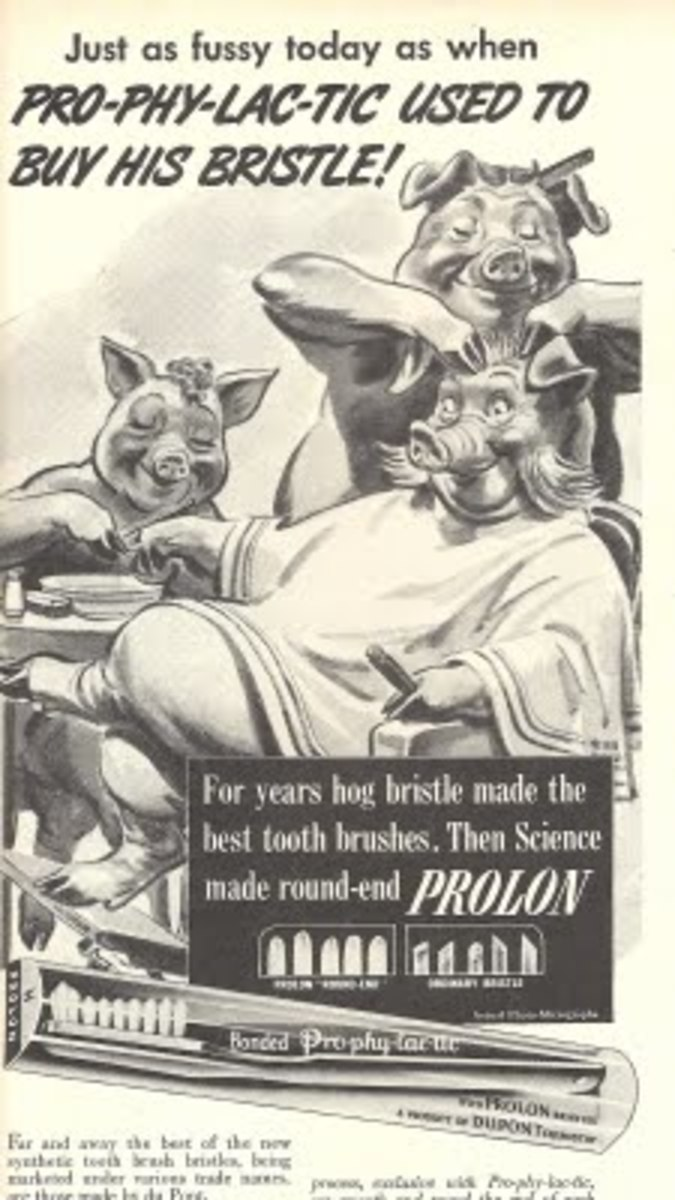 Mocking Hog brushes in an old ad