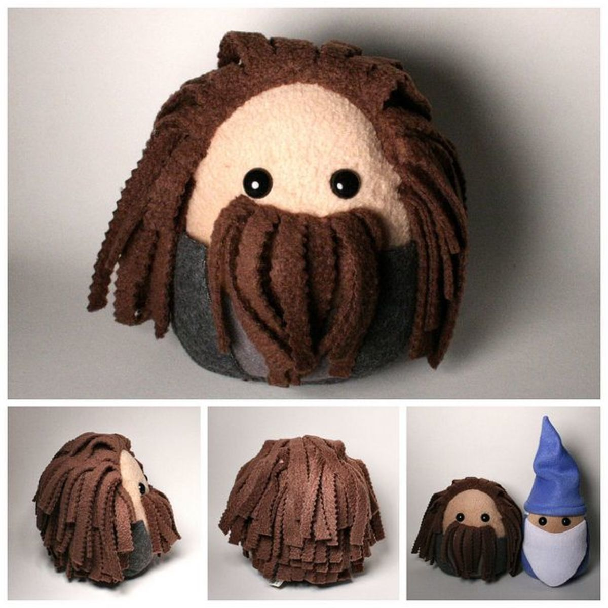 A good way to get inspiration for character softies is from books and movies - although you won't be able to sell these without permission of course. I love these Hagrid and Dumbledore fleece plushies!