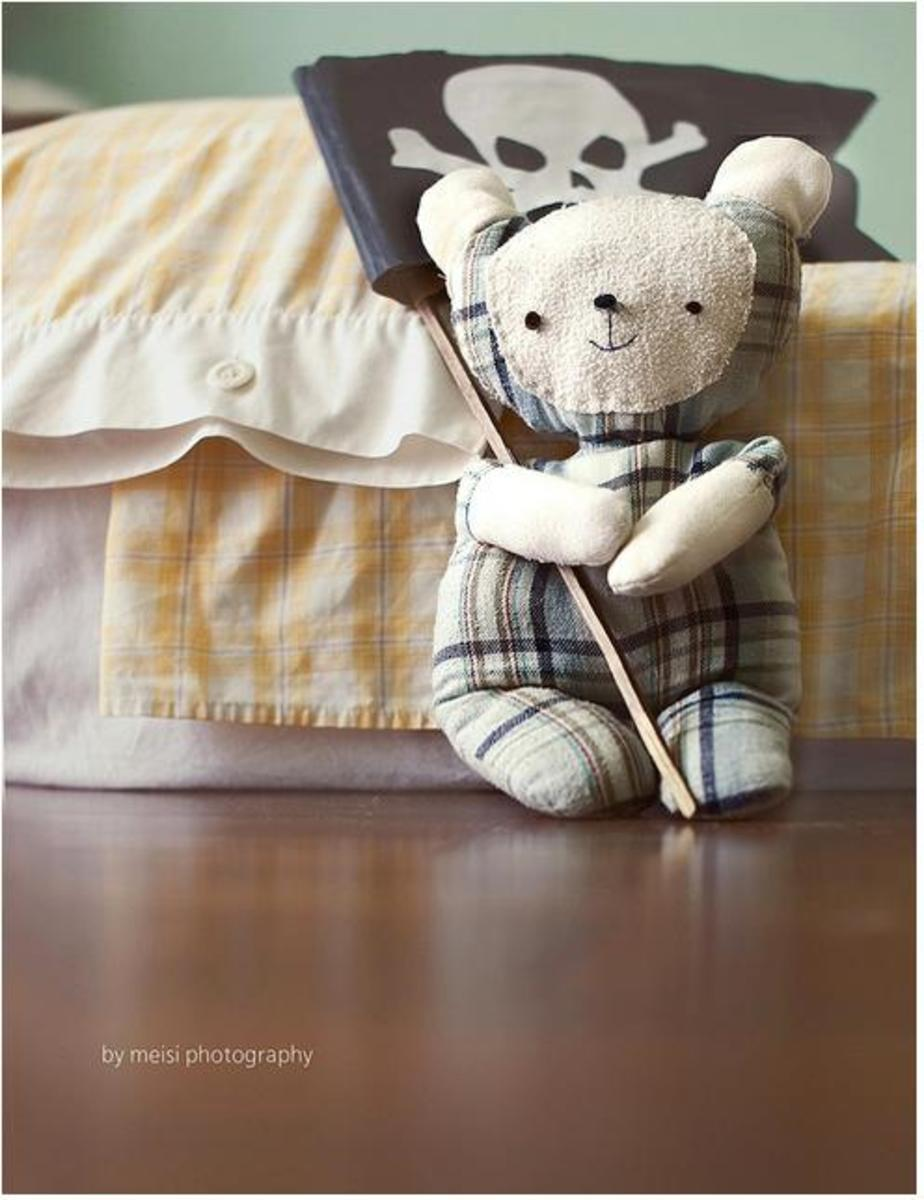 Cute bear softie made by re-using pyjamas.