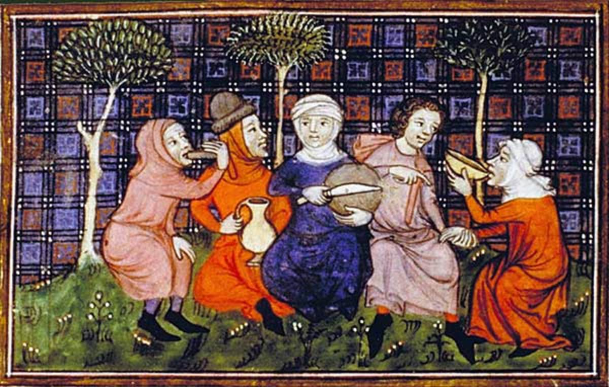 Peasants break bread