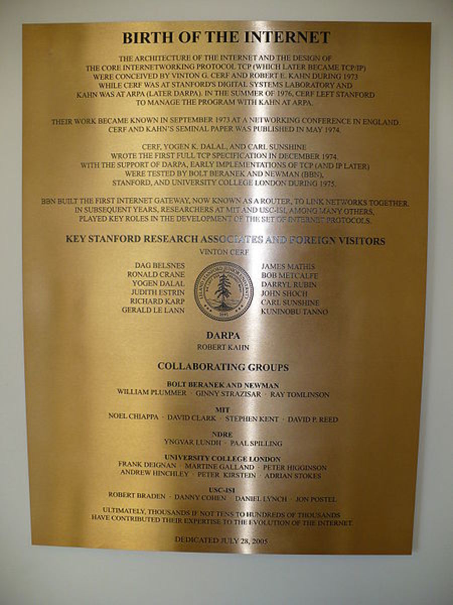 HISTORY OF INTERNET ON A PLAQUE