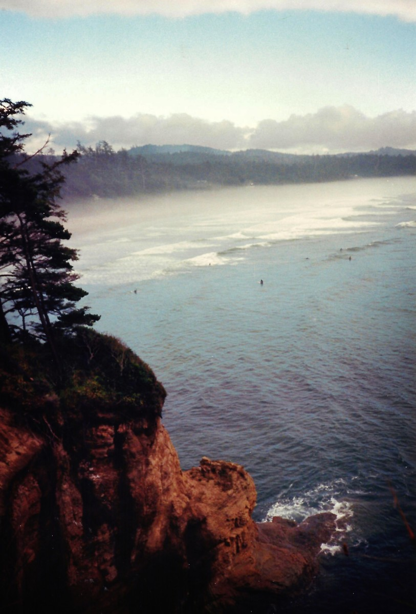 Oregon coast where hang-gliding enthusiasts have some fun.