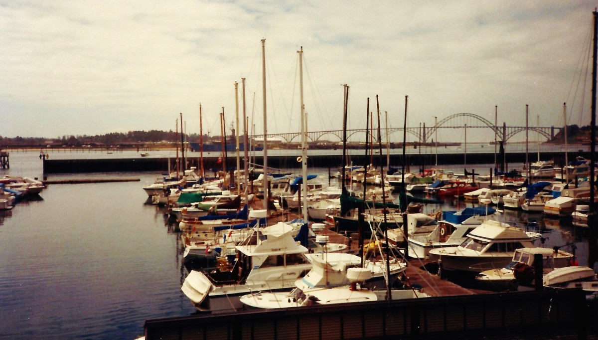 View of boats at the Embarcadero Resort Hotel and Marina in Newport, Oregon