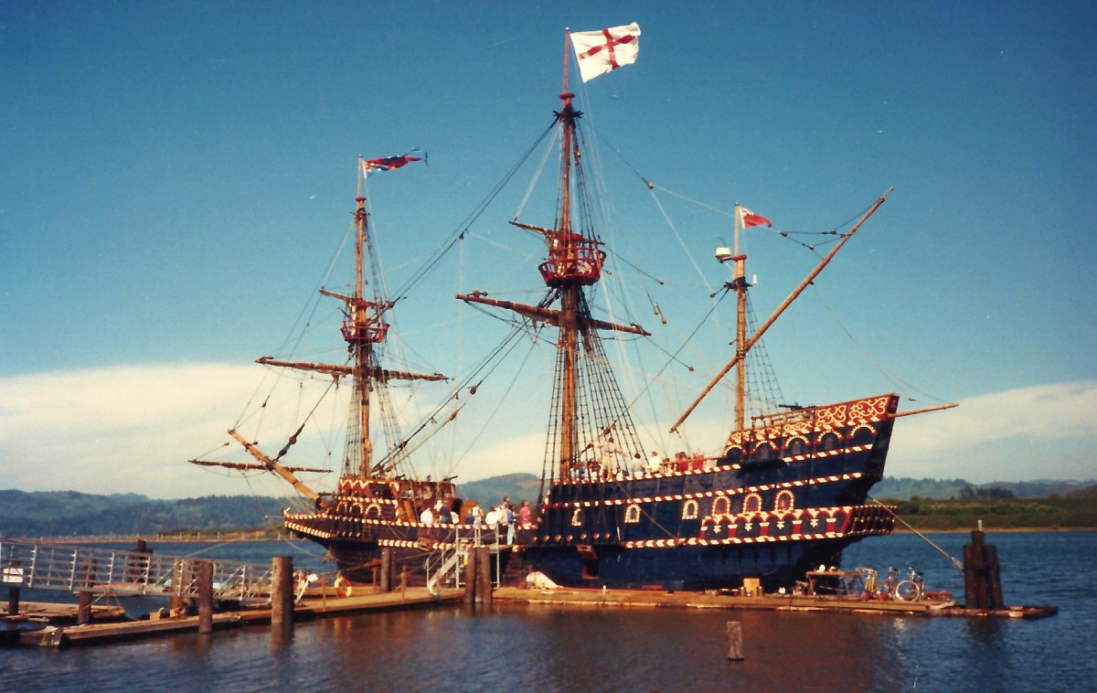 Replica of 16th century warship in Coos Bay at the time of our visit.