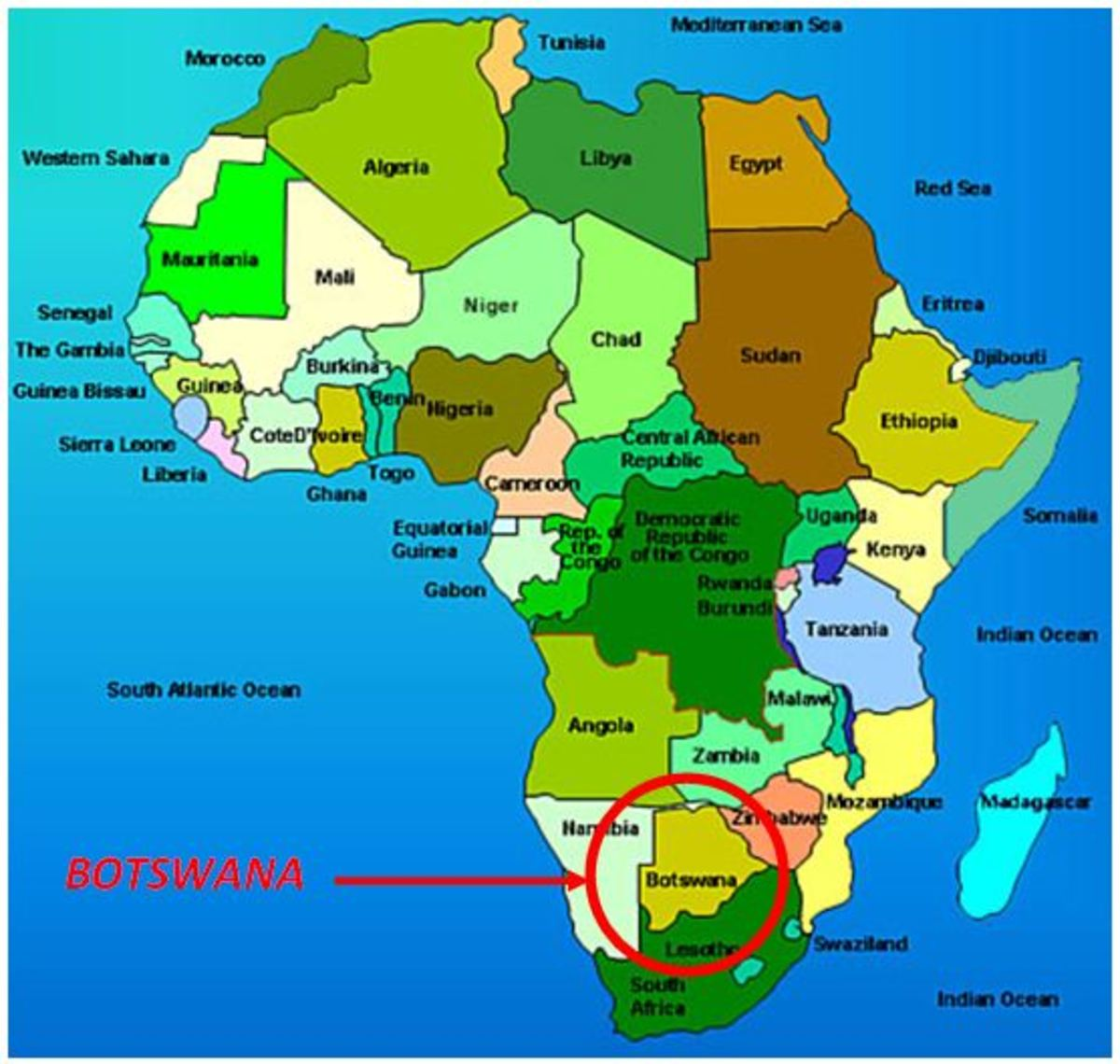 Botswana circled in red