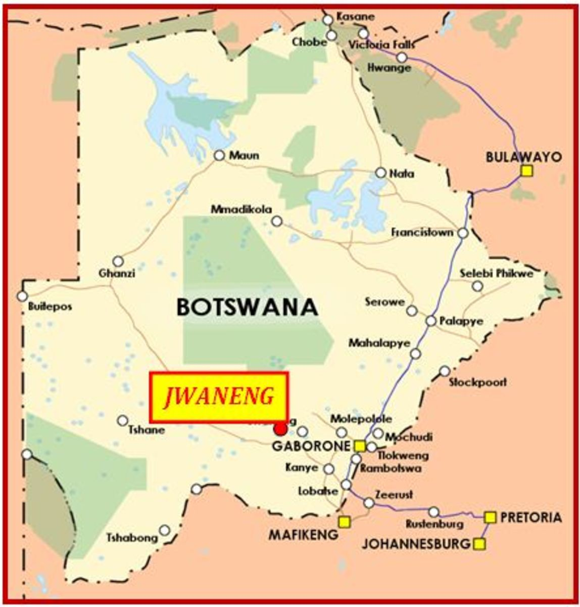 Jwaneng highlighted in Botswana