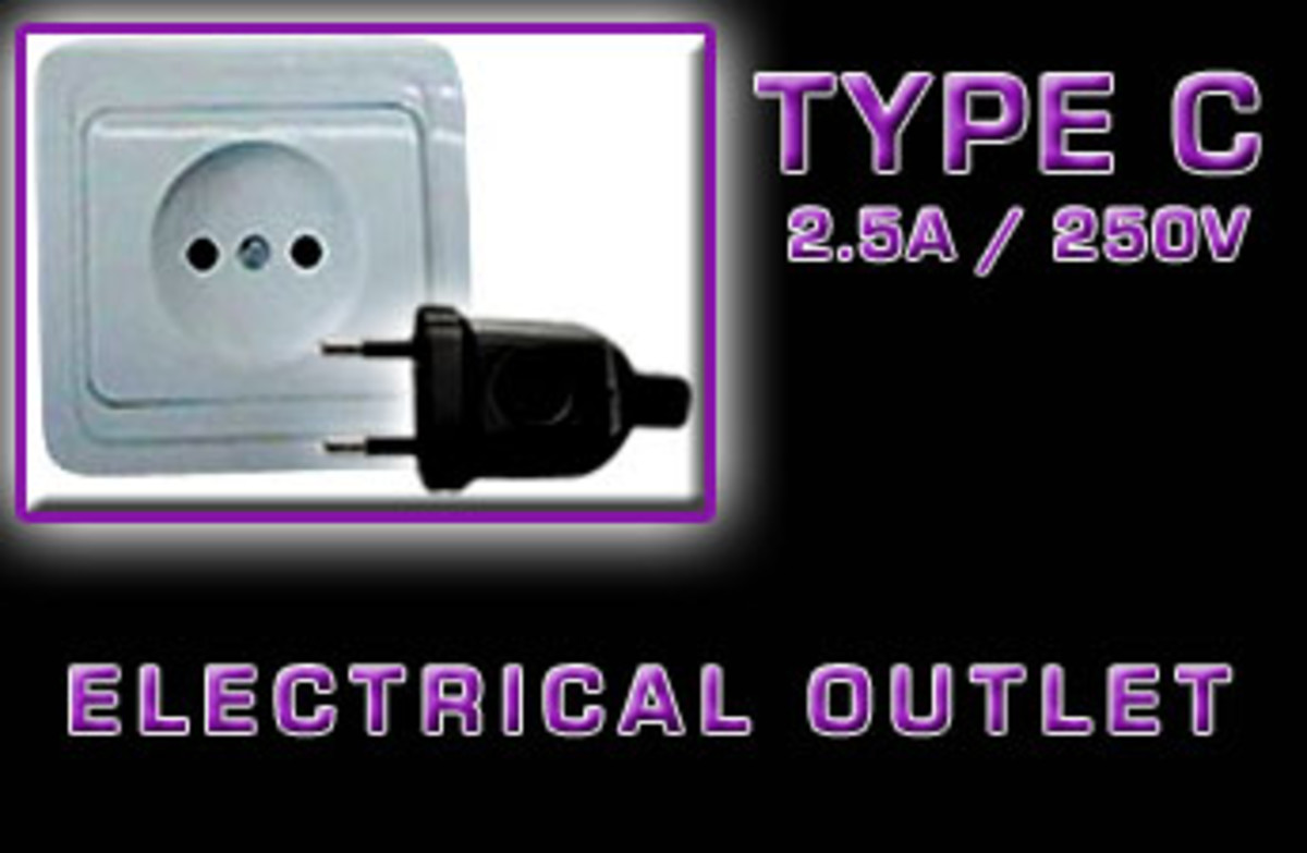 "The ""Type C"" is a European 2-pin electrical outlet, generally referred to as the Europlug. It is a 2-pinned unearthed plug that is found all over continental Europe, and a few places in Israel."
